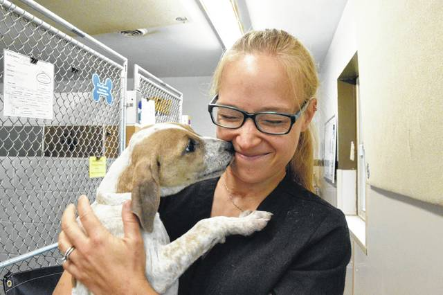 Natalie Yeager, canine intake coordinator at the Humane Society of Delaware County, gets a puppy kiss from Jumper, one of the 41 puppies delivered to Delaware from animal shelters in Texas. Yeager coordinated the transportation with a Houston rescue group.