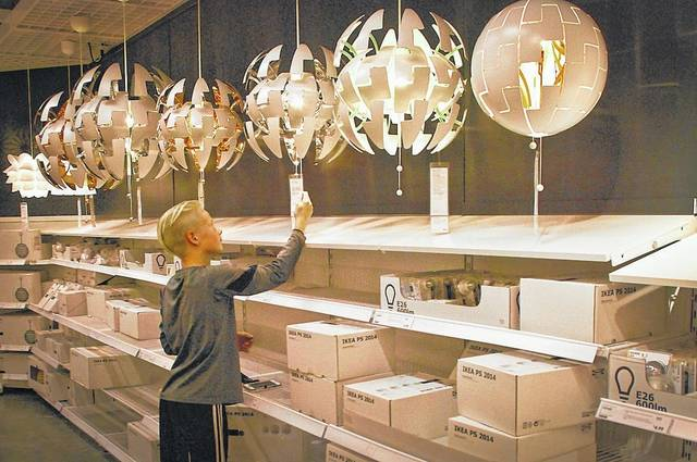IKEA stocks so many items that it's not just a store it is a shopping experience. In the lighting section of the store Owen Weikert found a light that expands from a ball into an artistically shaped lamp.