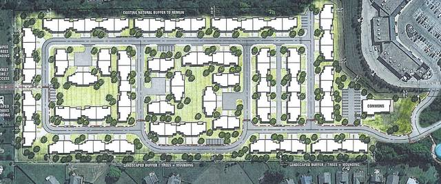 A preliminary site plan of the Burr Oak Commons apartments for residents ages 55 and older. The apartments would be located between the Lantern Chase subdivision and the Westfield Shopping Center on state Route 37.