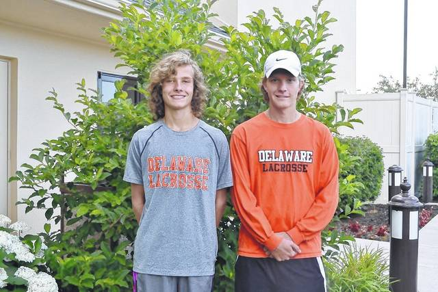 Clay Knight and Alex Schumacher, right, pose together prior to heading off to Richmond, Virginia for this week's Brine National Lacrosse Classic.