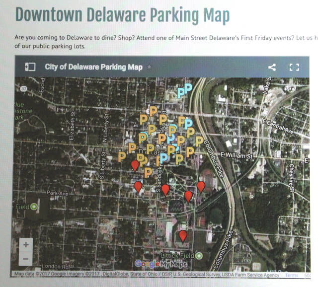 The City of Delaware has posted a downtown parking map on its website. Visit www.delawareohio.net/parking/ to access the map.