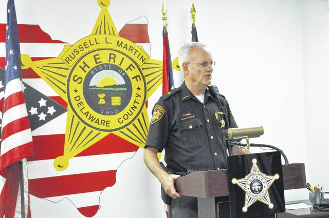 Delaware County Sheriff Russell Martin gives a press conference Wednesday afternoon. Martin said the Bureau of Criminal Investigation is investigating the officer-involved shooting that occurred Tuesday at Tanger Outlet. He said the sheriff's office will fully comply with the investigation.