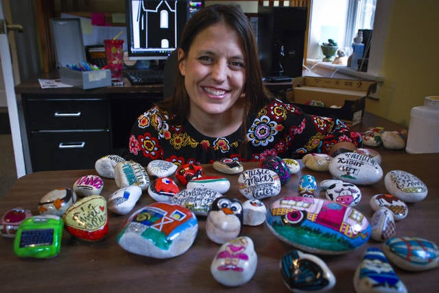Painting a hundred rocks a week with characters and sayings is a task of joy for local artist Sara Deericks because when the rocks are found faces light up.