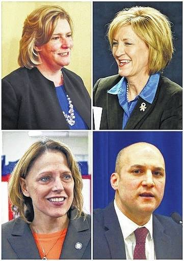 This photo shows Ohio's four announced Democratic candidates campaigning to succeed Republican Gov. John Kasich including Dayton, Ohio, Mayor Nan Whaley, top left; then-U.S. Rep. Betty Sutton, top right; then-Ohio state Rep. Connie Pillich, bottom left; and Ohio state Sen. Joe Schiavoni, bottom right. The four current Democratic candidates will stage their first debate in the race for their party's 2018 nomination for governor on Sept. 12 at Martins Ferry High School in eastern Ohio, Ohio Democratic Party Chairman David Pepper said Monday.