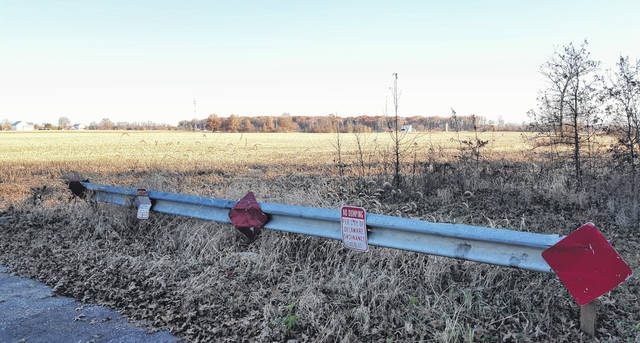 Pictured is the terminus of Merrick Boulevard on the city of Delaware's northwest side. The farmland in the background could become home to a new subdivision in the future pending City Council's approval of a request by the property owner to downzoning the 44.258-acre parcel located on the west side of Troy Road across from Smith Park. If the land is developed, Merrick Boulevard stands to be extended to Troy Road.