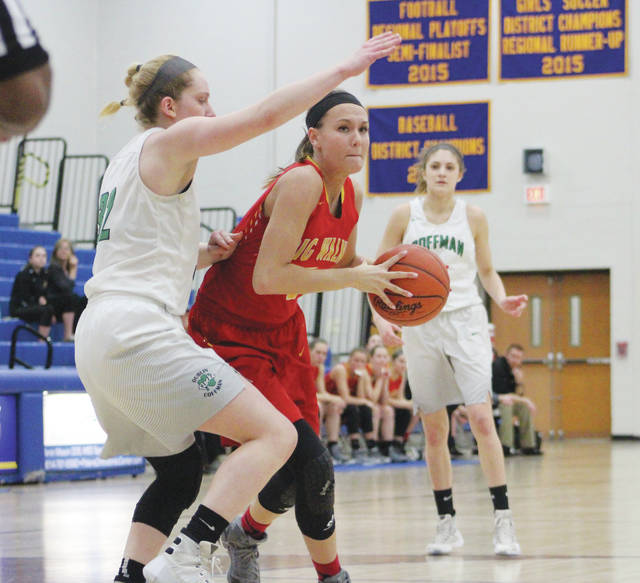 Big Walnut's Katie Cochran works against a Dublin Coffman defender during a game last season.