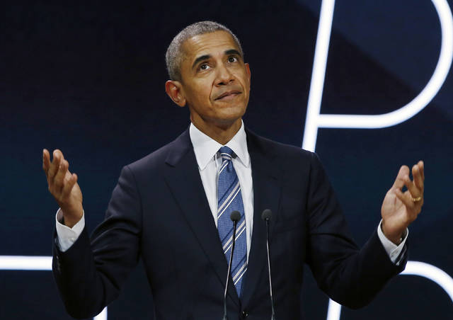 FILE - In this Saturday, Dec. 2, 2017, file photo, former U.S. President Barack Obama arrives on stage prior to delivering a speech in Paris. Carter Wilkerson, a guy with an insatiable appetite for chicken nuggets, and Obama are among the most retweeted tweets of the year. On Tuesday, Dec. 5, 2017, Twitter released its top trending people and subjects ranging from the arts, to politics, to Korean boy bands. (AP Photo/Thibault Camus, File)