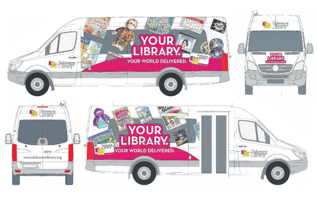 During Main Street Delaware's First Friday on Jan. 5, the Delaware County District Library will unveil the new bookmobile. The illustrations provided by the Delaware County District Library show all four sides of the new vehicle's exterior custom graphics.