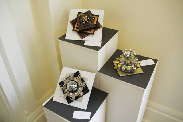 These pieces created by Timothy Bachman are part of the exhibit called Math Made Visual that is currently on display at The Arts Castle in Delaware. Works from artists Art Beery and Yasue Sakaoka are also part of the exhibit. Math Made Visual will remain in place until Jan. 12, 2018. The Arts Castle's New Year's Eve party will feature central Ohio band Nightfall as well as tarot card readings and caricature drawings. Beer, wine, and appetizers will be served. Activities will begin at 9 p.m. on Sunday, Dec. 31. Admission is $60 per person. Tickets can be purchased at artscastle.org. The Arts Castle is located at 90 W. Winter St., Delaware. For information, go to the website or call 740-369-2787.