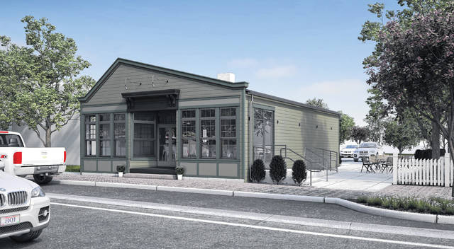 Pictured is a rendering of the planned changes to the former retail shop at 26 W. Olentangy St. in downtown Powell. Dustin Sun, owner of Espresso 22 in Powell, plans to remodel the building in order to open up a tavern.