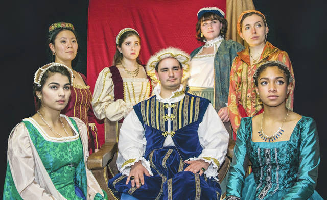 "Ohio Wesleyan University's Department of Theatre & Dance will present four performances of ""Royal Gambit"" from Feb. 15-18. Here, King Henry VIII, portrayed by OWU student Daniel Haygood, is surrounded by his six wives, portrayed by OWU students Rose Jonesco, clockwise from bottom left, Doris Ottman, Anna McReynolds, Emma Antal, Kacie Iuvara, and Nyjah Cephas."