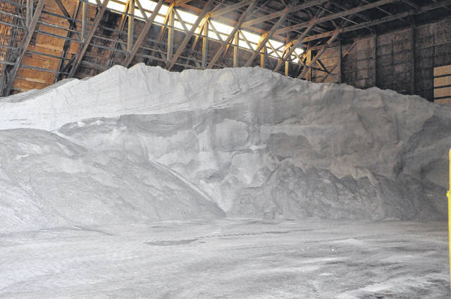 Piles of salt at the ODOT facility on U.S. 42 are ready to go in case the National Weather Service prediction of 3 to 5 inches of snow falls Friday in Delaware County.