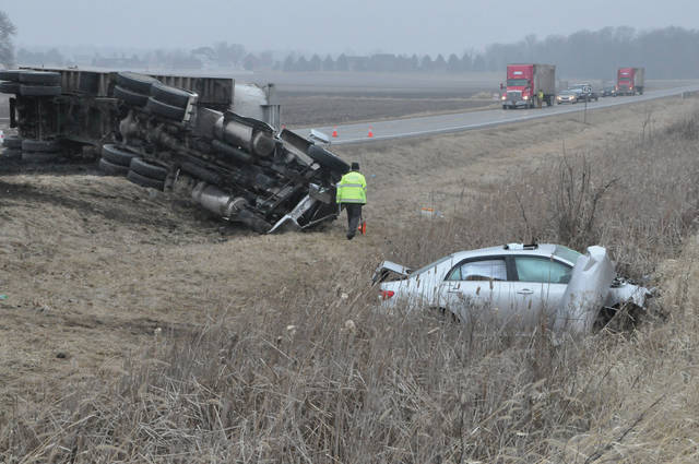 U.S. 42 north of Delaware was closed following a two-vehicle crash Monday morning. The crash involved a tractor trailer and a car. Troopers from the Delaware Post of the Ohio State Highway Patrol said injuries were reported.