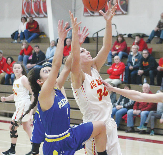 Big Walnut's Abby Facemyer battles for a rebound with Olentangy's Cassie Dulay, left, during the first half of Tuesday's non-league showdown in Sunbury.