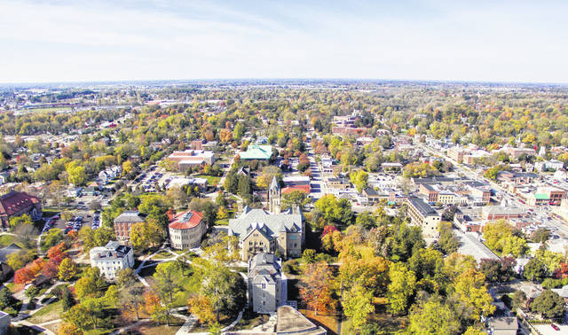 Pictured is an aerial look at the Ohio Wesleyan University campus and a portion of downtown Delaware. On Monday, the city and county both agreed to enter into a three-party agreement with OWU for the creation of the Delaware Entrepreneurial Center, which is expected to open in August at 70 S. Sandusky St., Delaware.