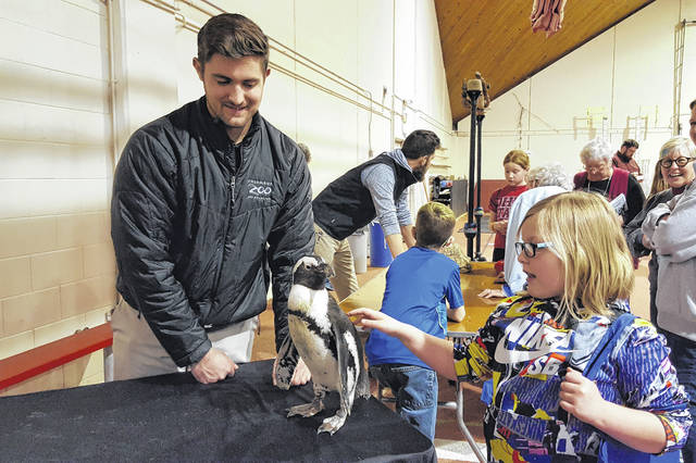 During the Bishop Backers Community Day 2018 event held Saturday inside the Gordon Field House on the Ohio Wesleyan University campus, the Columbus Zoo & Aquarium provided attendees the opportunity to get an up-close look at several animals. Pictured is Delaware resident Tori Waddell, 8, interacting with Flounder, a 3-year-old male African black-footed penguin, as James Gentzel, animal program specialist at the zoo, looks on.