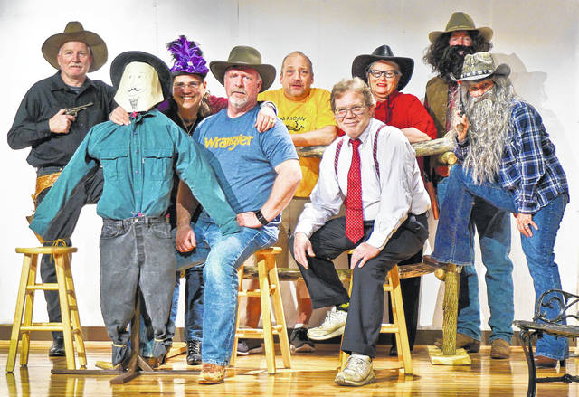"The Sunbury United Methodist Church Players presents An Evening of Comedic One-Act Plays next weekend, April 13-15. ""Sagebrush Sidekicks"" is set in the old West, with a hero holding a contest for who will be his next sidekick. ""Das Box"" is a funny mystery about the contents of an unopened box. Cast and crew members, in and out of costume, include (left-to-right): Larry Layton, Penny Hill, Terry Yates, Joey Jerome, Jeff Endslow, Steve Clements, Bev Endslow. Showtimes are 6:30 p.m. Friday; 7:30 p.m. Saturday; and 2 p.m. Sunday. Tickets are $20 for Friday and Saturday, and includes dinner; $10 Sunday. For reservations, call Phyllis Taylor, 740-965-3293. SUMC is at 100 West Cherry Street, Sunbury."