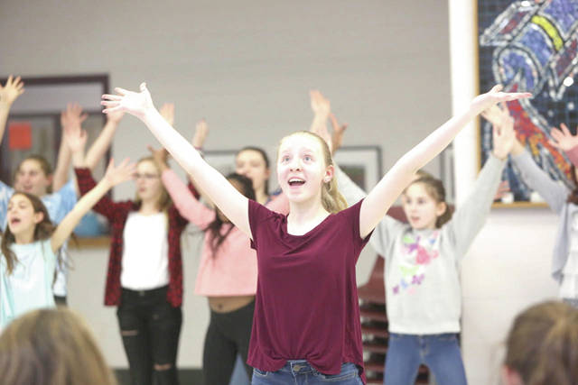 "Pictured during a recent rehearsal for ""Dear Edwina JR."" is Dempsey Middle School student Audrey Young, who will portray Edwina, the title character, during three upcoming performances of the musical."