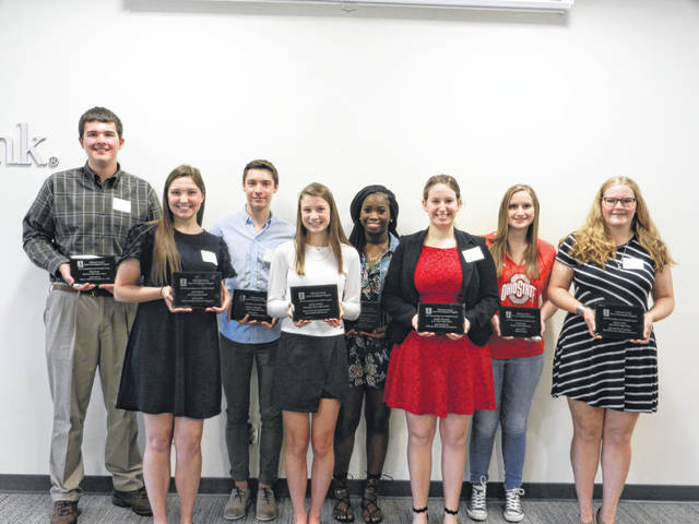 Various Delaware County high school students pose together after being recognized at the annual Delaware County Career Portfolio Recognition Breakfast at First Commonwealth Bank. Pictured, left to right, are Nick Koren, Sarah Marsh, Jackson Schiefelbein, Natalie Amodeo, Rakiatu Bangura, Carolyn Moorman, Sarah Lehner and Rebecca Fitch.