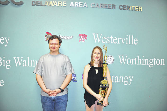 DACC Networking student Ryan Dolan and DACC Digital Design junior Hannah Peterson pose together at the DACC South Campus Thursday. Dolan and Peterson were two of several students who competed at the Business Professionals of American National Competition last week. Dolan took part in a tech support competition and was award second place out of the 65 national competitors. Peterson took part in a graphic design promotion competition and was awarded ninth place out of 52 national competitors.