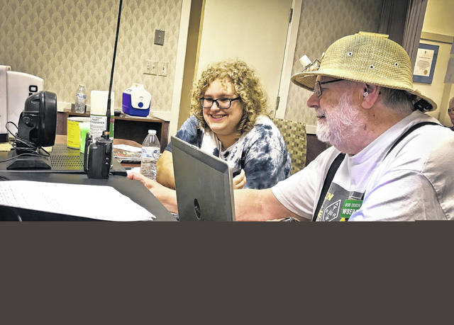 Delaware Amateur Radio Association operates a station to allow non-licensed beginners a chance to try out ham radio. (R-L) Jillian Brodsky makes her first contacts by using the Station during Field Day under the guidance of Dr. Bob Dixon, Ostrander.