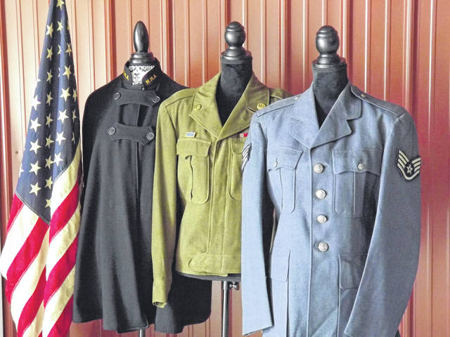 Pictured are some of the military uniforms currently on display at the Myers Inn Museum in Sunbury.