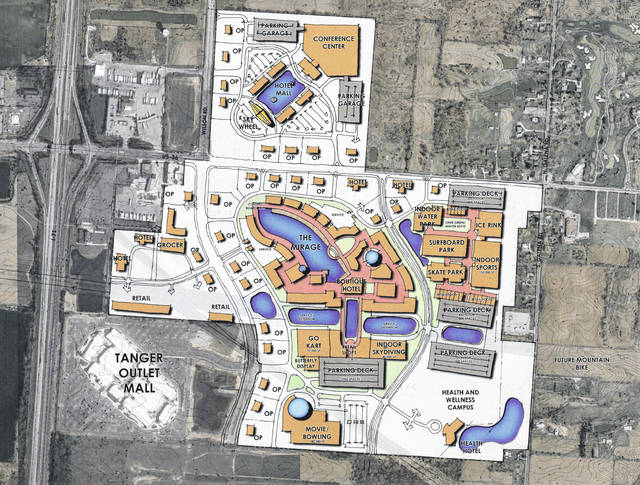This is the master plan drawing for Planet Oasis, a multi-billion dollar development in Berkshire Township.
