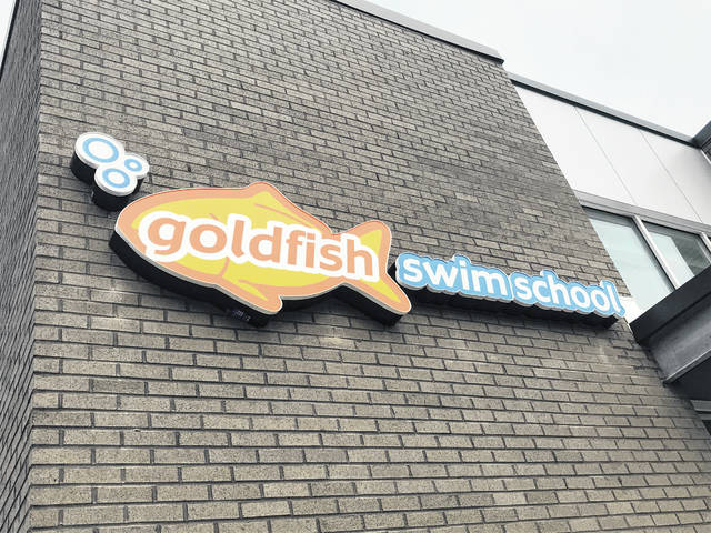 Pictured is a portion of the front of the new Goldfish Swim School building set to open soon in Lewis Center at 7838 Green Meadows Drive N.