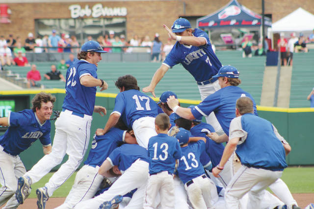 Members of the Olentangy Liberty baseball team celebrate in the middle of the diamond after winning the Division I state championship Saturday afternoon at Huntington Park.