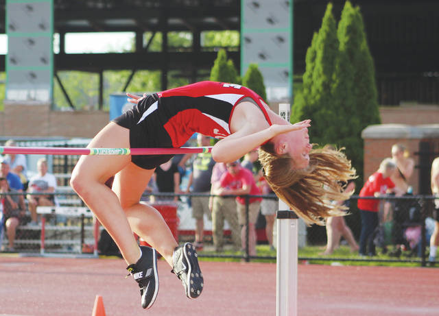 Delaware Christian's Lyssi Snouffer competes in the Division III girls high jump at the OHSAA state championship meet Friday at OSU's Jesse Owens Memorial Stadium.