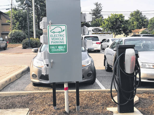Pictured is one of the four EV charging stations recently installed in the parking lot of the Powell Municipal Building, 47 Hall St., Powell.