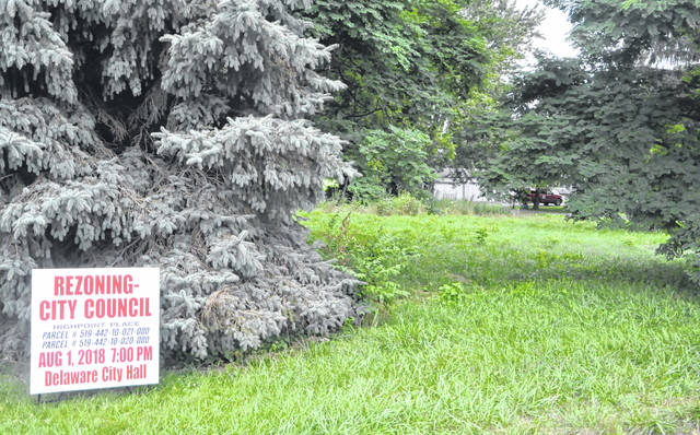 Pictured is the proposed site of the Highpoint Place Apartments on the north side of Bowtown Road, just west of Village Gates of Delaware (apartment complex). The Delaware Planning Commission on Wednesday voted not to recommend the proposed development to Delaware City Council.