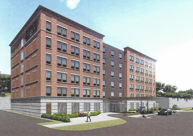Pictured is the latest rendering of the proposed hotel that, if approved, would be built on Spring Street in Delaware. The proposed location is directly behind Ohio Wesleyan University's Richard M. Ross Art Museum.