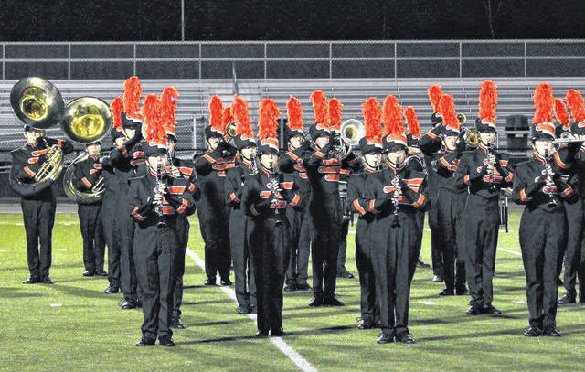 The Delaware Hayes Grand Pacer Marching Band performs at the Bellbrook Fall Invitational marching band competition on Sept. 15. The band earned second place in Class AAA and best percussion. The band will compete again this weekend at the 18th annual Lebanon Marching Band Invitational in Lebanon.