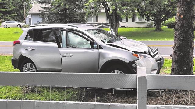 Pictured is a vehicle that recently crashed into a tree on Berlin Station Road. The Delaware County Sheriff's Office reports that drivers have been travelling too fast on the road or are not used to the increased amount of traffic from Olentangy Berlin High School, which has led to several crashes and drivers being cited for speeding.