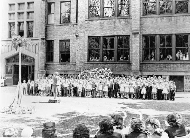 Pictured is a May Day celebration held at the former Boardman Elementary School, which once stood where Boardman Arts Park in now located on West William Street in Delaware.