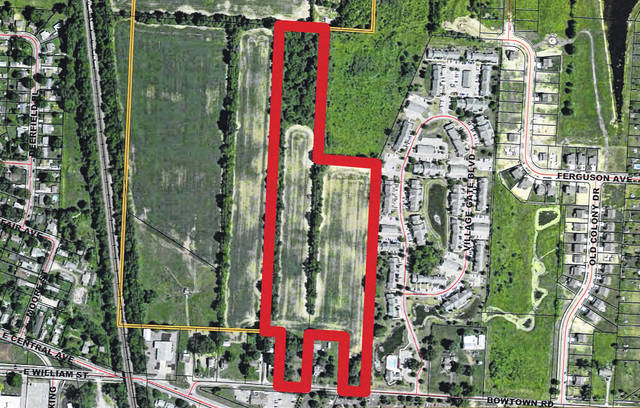 Highlighted in red on this aerial map is where Metro Development LLC was hoping to build Highpoint Place Apartments. The complex was proposed for Bowtown Road (shown to the south on the map) on the east side of Delaware.