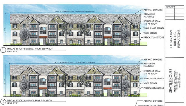 Pictured is an illustration of the front and rear building elevations for the Seattle House Apartments complex as presented to Delaware City Council.