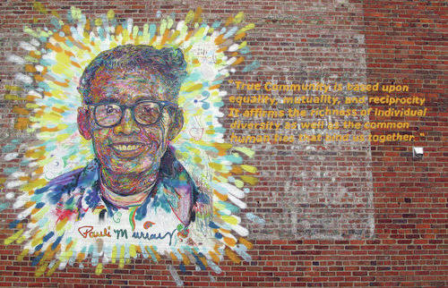 An example of Brett Cook's artwork is this mural of poet Pauli Murray, part of the Face Up project in Durham, North Carolina.