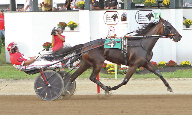 Impinktoo and Kayne Kauffman cruise to a 2 1/2 length win in the second $50,850 division of the Ohio Breeders Championship for three-year-old filly trotters Monday at the Delaware County Fair.