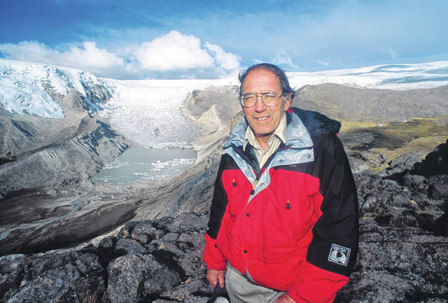 Lonnie G. Thompson, Ph.D., is pictured in front of the Qori Kalis Glacier in Peru. Thompson will speak Thursday at Andrews House in Delaware.