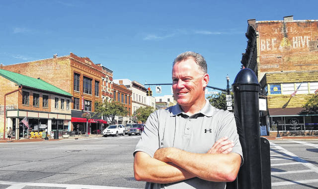 "City of Delaware Planning and Community Development Director Dave Efland stands in downtown Delaware, named a ""Great Place in Ohio"" by the American Planning Association's Ohio chapter."