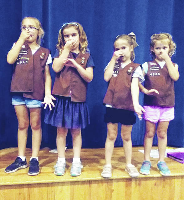 Brownie Scouts and others interested in scouting learned new songs during Big Walnut Girl Scouts' recent S'mores and More event.