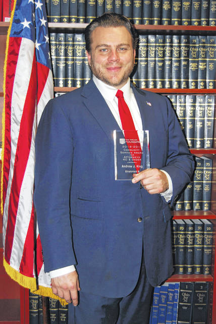 King with his award from the Ohio State Bar Foundation.