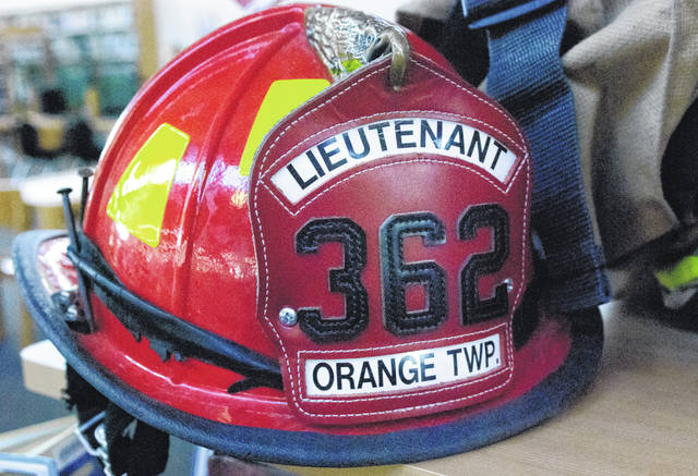 Pictured is an Orange Township Fire Department helmet that was on display back in Septemember at the Delaware County District Library's Orange Branch.