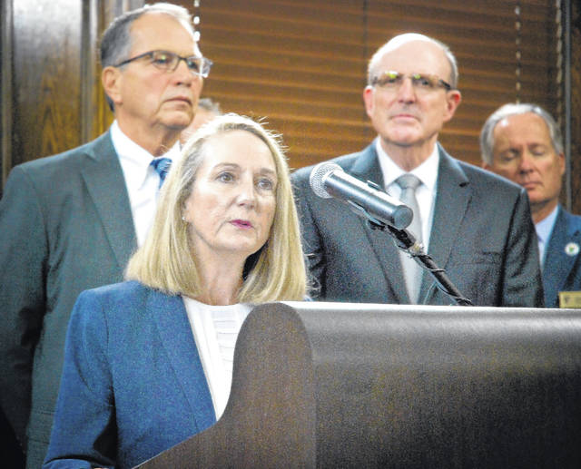 Delaware County's elected officials joined county commissioners Thursday in opposition to state Issue 1. During a recess of the commissioners' regular session, the group of county officials held a press conference with local news media outlets. Delaware County Prosecutor Carol O'Brien, surrounded by other elected officials, was the first to approach the podium and speak with the media on the county's stance on Issue 1.