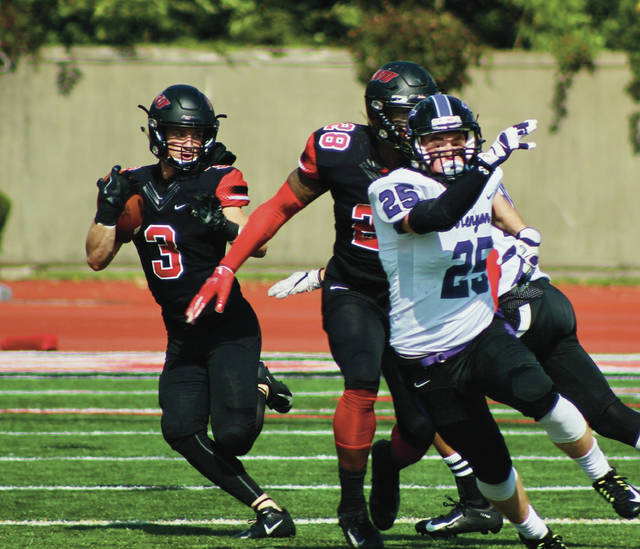Gabe Miller (3) returns the opening kickoff 59 yards to set up OWU's first score of a 49-7 win over Kenyon in NCAC play Saturday at Selby Stadium.