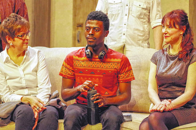 """In April 2016, Ohio Wesleyan theatre professor Bonnie Milne Gardner (OWU Class of 1977), left, directed her final play, """"Artifice,"""" before retiring. Ares Harper (Class of 2019), middle, was a member of the cast. The playwright, OWU alumna Anne Flanagan (Class of 1987), right, joined the two as part of a talkback event following a performance. Today, Gardner and Harper are the only two OWU students ever to have directed a main season production."""