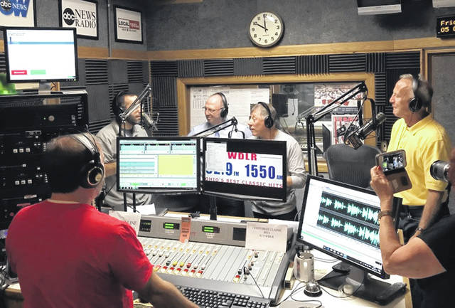 "Left to right: City of Delaware Attorney Darren Shulman, Baumholder District Mayor Bernd Alsfasser, Public Affairs Officer for the Baumholder Military Community Bernd Mai, and City of Delaware Community Affairs Coordinator Lee Yoakum talk about the relationship between Baumholder and Delaware on the ""Delaware City Digest"" radio program Friday on WDLR 92.9 FM."
