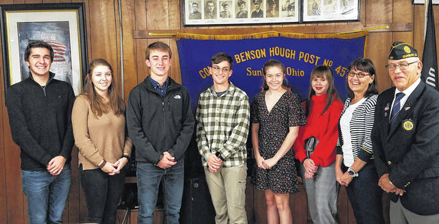 Pictured are some the students who attended Buckeye Boys/Girls State programs this year thanks to the American Legion Post 457. The are, left to right, Ben Momeni, Hannah Kaiser, Mitchell Gifford, Jonny Gartner, Julia Wood, Penny Yuhas, Boys/Girls State Chair Kim Walker and Post 457 Commander Scott Bloch. Not pictured are Ruthann Armbrust, Isaac Hedges and Sydney Shadik.